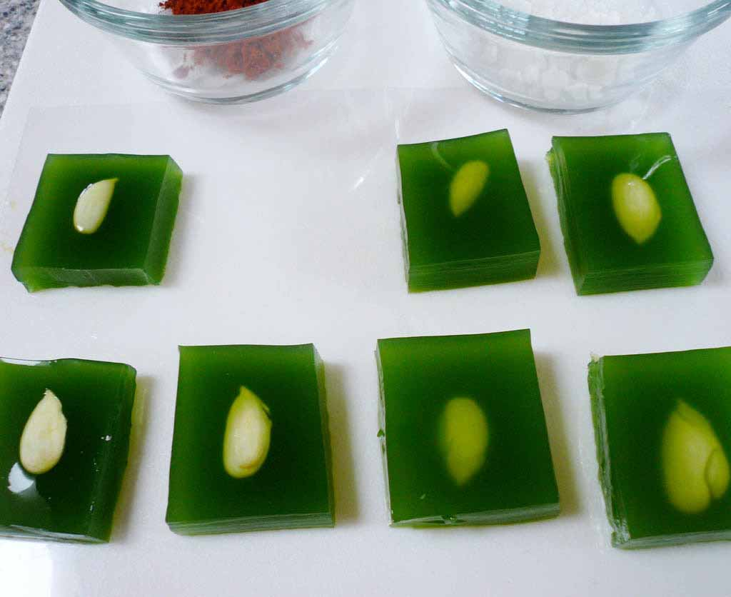 Green almond sweet hot sour salt alineaphile i put the gele squares on small brushed aluminum plates actually supposed to be candle holders forumfinder Choice Image
