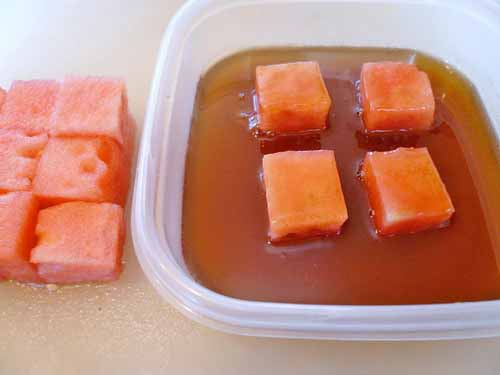 marinated watermelon cubes
