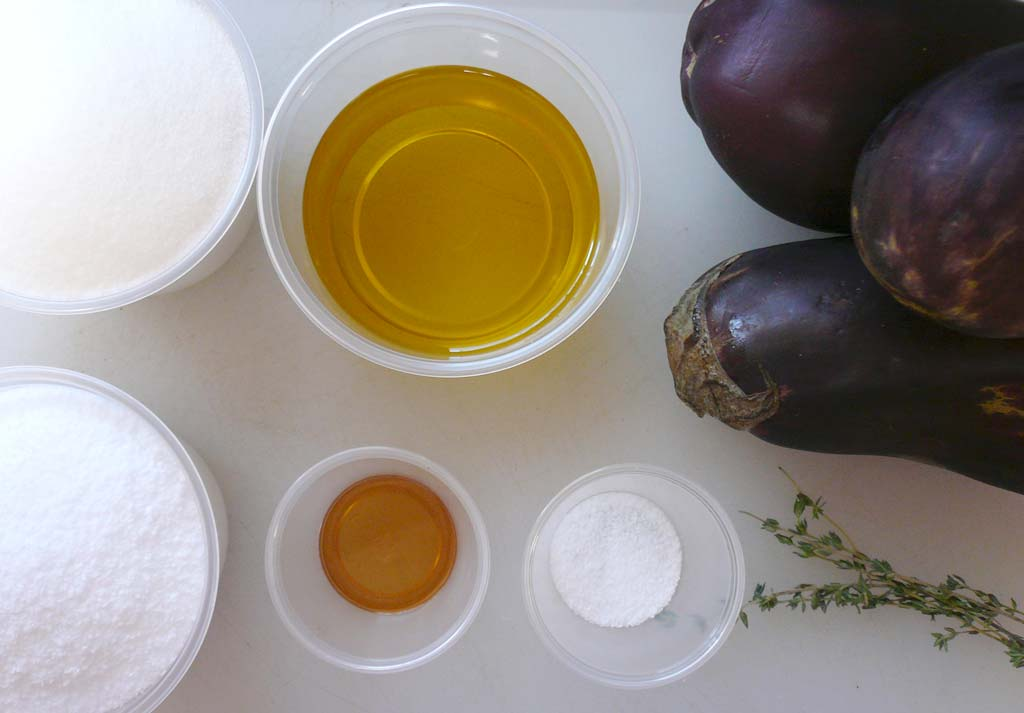 Mise-en-place for eggplant puree