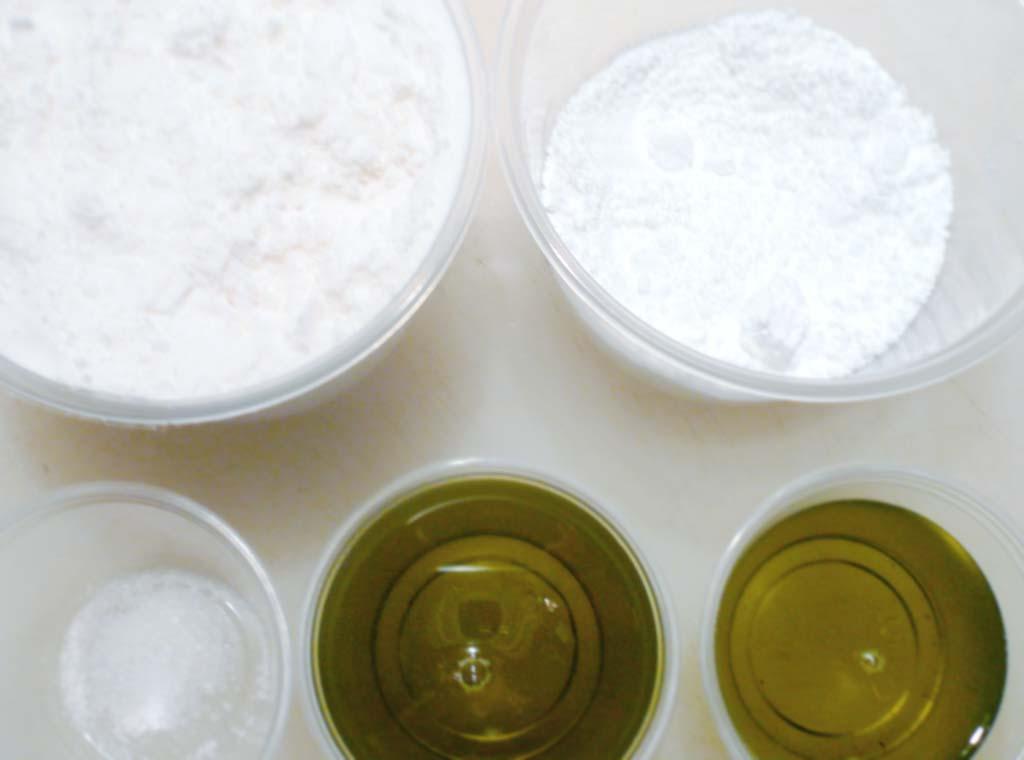 Mise en place for pistachio powder