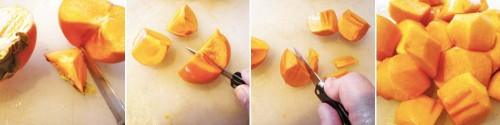 Prepping the fuyu persimmons