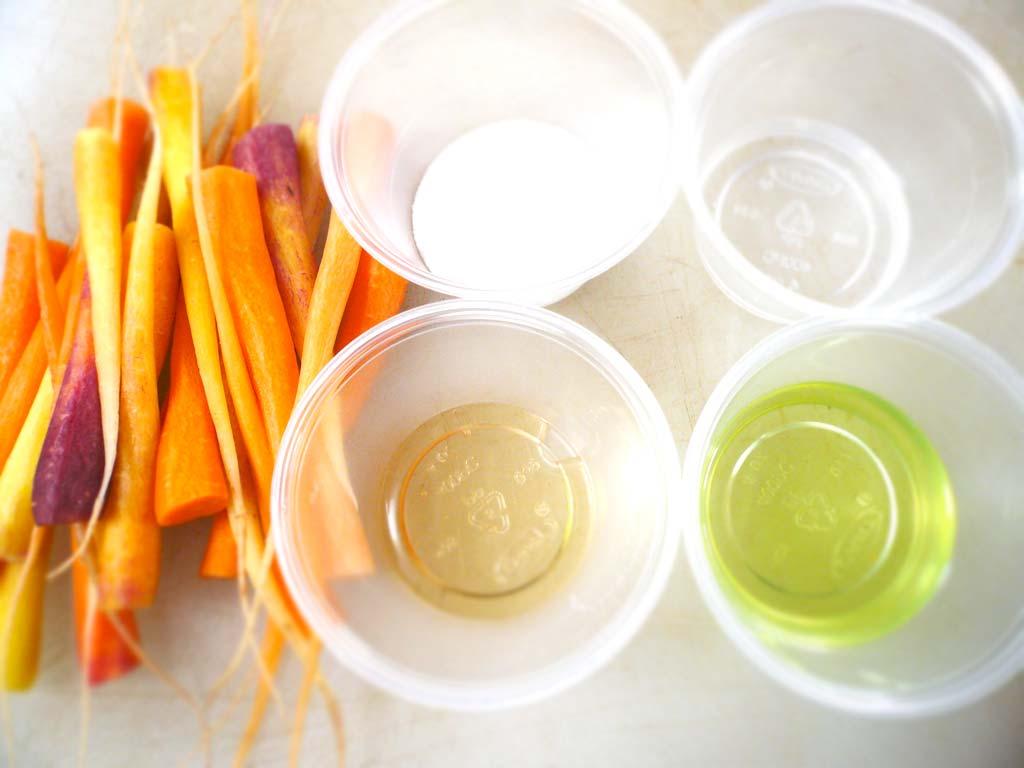 Mise en place for Glazed Carrot Tips