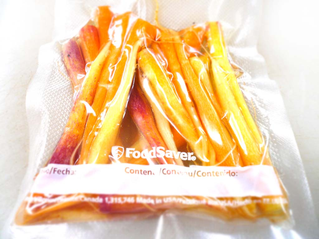 Carrots vacuum-packed for sous-vide