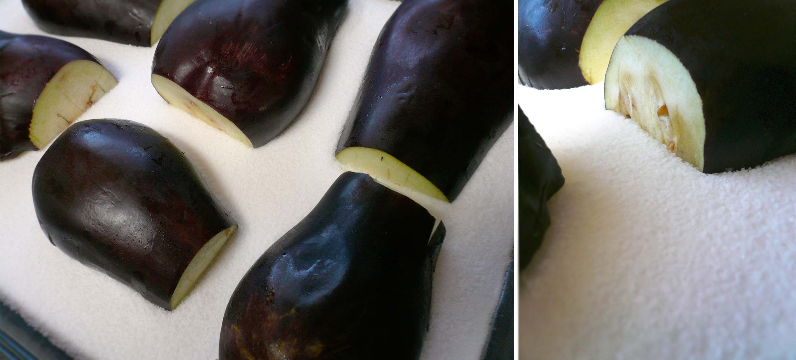Eggplants on salt