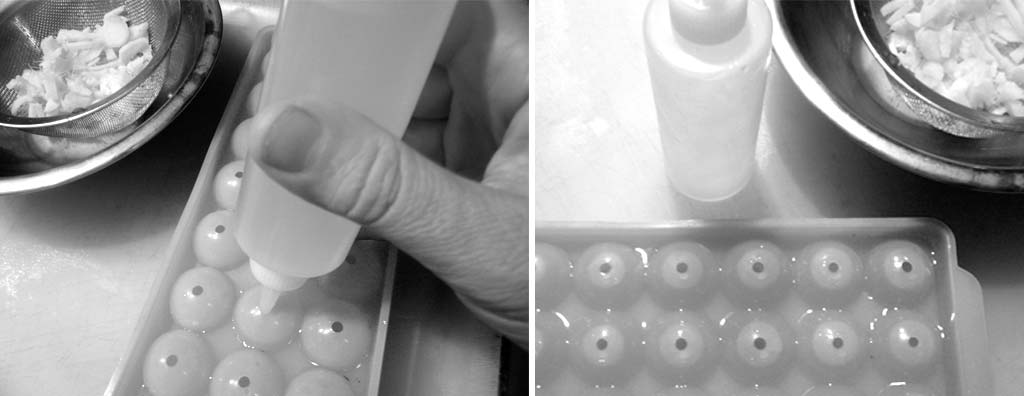 Filling the hemispheric molds with ginger infusion
