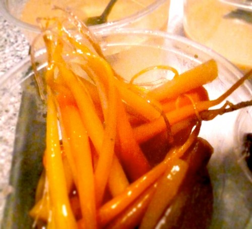 Glazed carrot tips