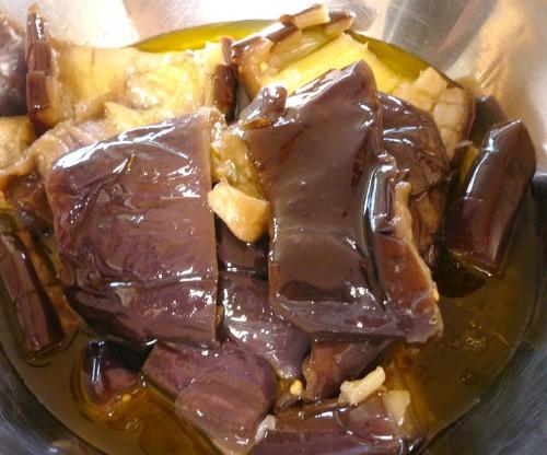 Eggplant flesh and skin
