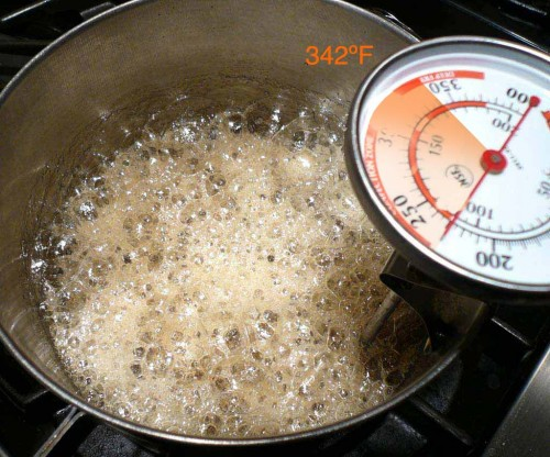 For brittle, cook the sugar to the hard-crack stage (342 degrees F.)