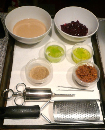 Mise-en-place for Maytag Blue, Grape, Walnut, Port - Alineaphile