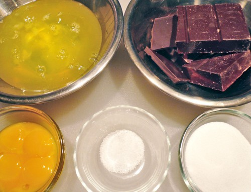 Mise-en-place for chocolate mousse
