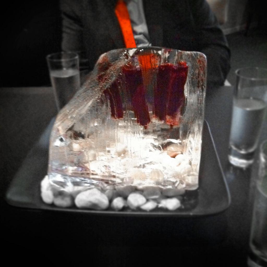 Ice block centerpiece