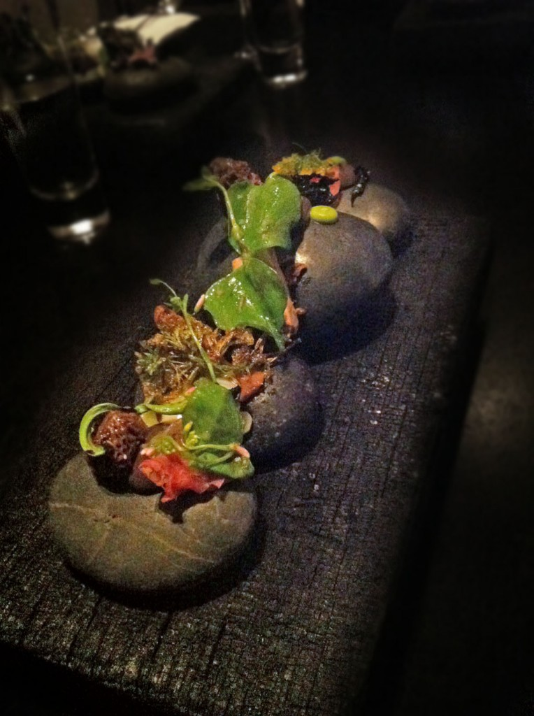 Alinea Recipe: Burn Morels, ramp, fiddlehead fern, miner's lettuce