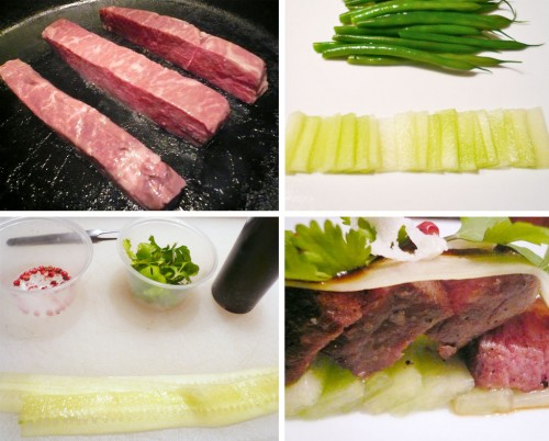 Assembling the Wayu Beef recipe