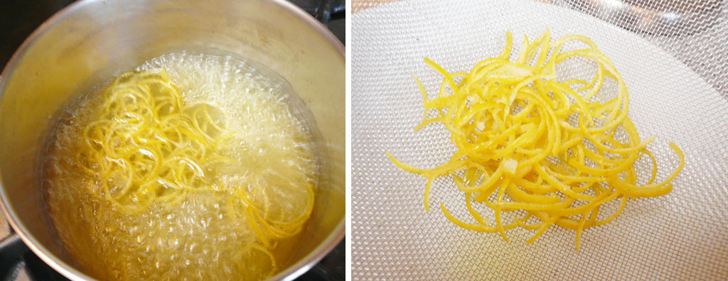 Boil and strain lemon zests