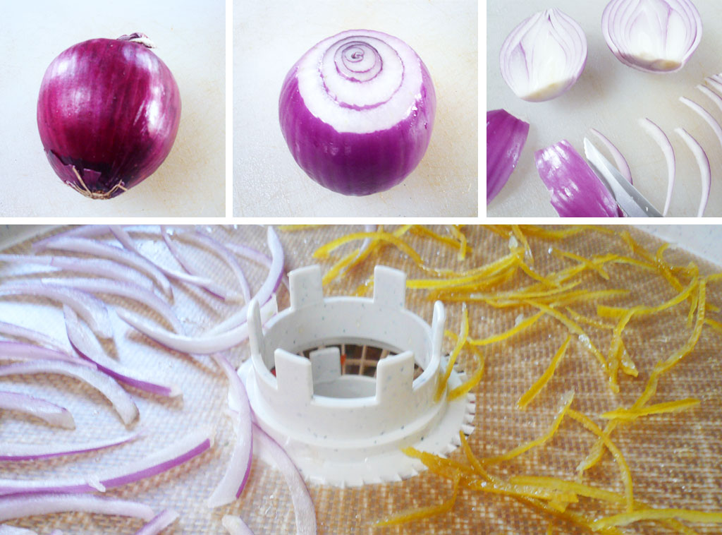 Cut and dehydrate red onion
