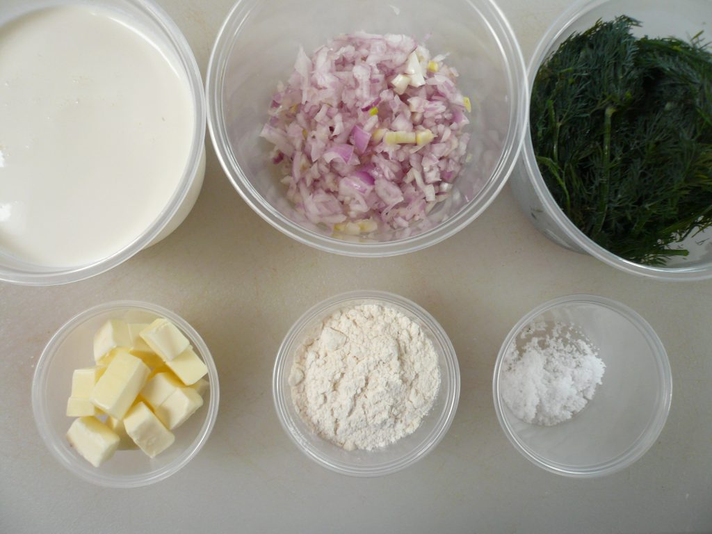 Mise en place for dill sauce